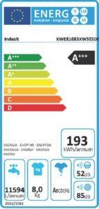 Die Energieeffizienz wird in dem EEK-Siegel auf der Waschmaschine mit integriertem Trockner angezeigt.