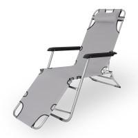 Sonnenliege und Liegestuhl mit verstellbarem Nackenkissen klappbarer Campingstuhl mit Doppelfunktion in grau