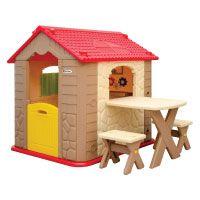 LittleTom Kinderspielhaus inkl. Tisch und 2 Bänken Kunststoff Spielhaus