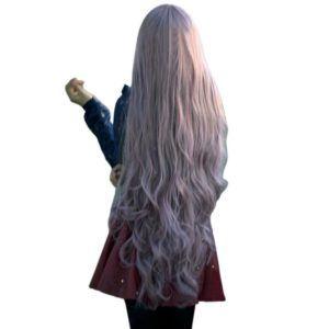 Pixnor Neue Mode Frauen Dame langes lockiges, welliges Haar voller Perücken Cosplay Party Anime Lolita Perücke 100cm (Taro lila)