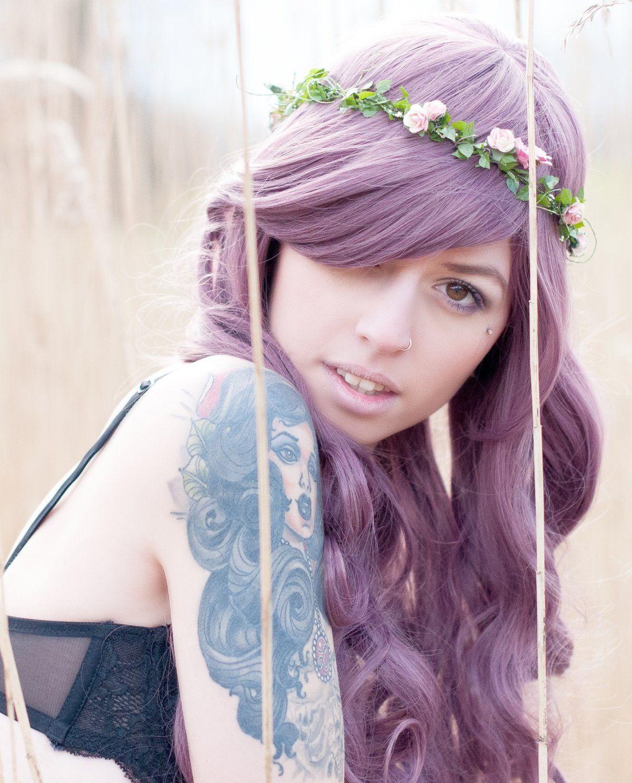Prettyland C668 - 70cm Pflaume Violett gewellte Gerade Pony Lolita Alltag Volumen lange Perücke