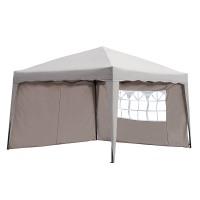Sekey Pavillon 3 x 3 m, Faltpavillon einsetzbar als Gartenpavillon, Party- und Festzelt, Camping- und Festival-Zelt, Gartenmöbel , Taupe, mit zwei, seitlichen Wänden,Gartenlauben