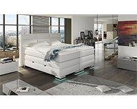 XXL ROMA Boxspringbett mit Bettkasten Designer Boxspring Bett LED Schneeweiss Rechteck Design (Schneeweiss, 180x200cm)