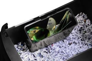 Verschiedene Auffangboxen beim Aktenvernichter von Hama für Cds und Papier