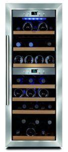 CASO WineMaster 38 Design Weinkühlschrank für bis zu 38 Flaschen (bis zu 310 mm Höhe), zwei Temperaturzonen 5-20°C, Getränkekühlschrank, Energieklasse A [Energieklasse A]