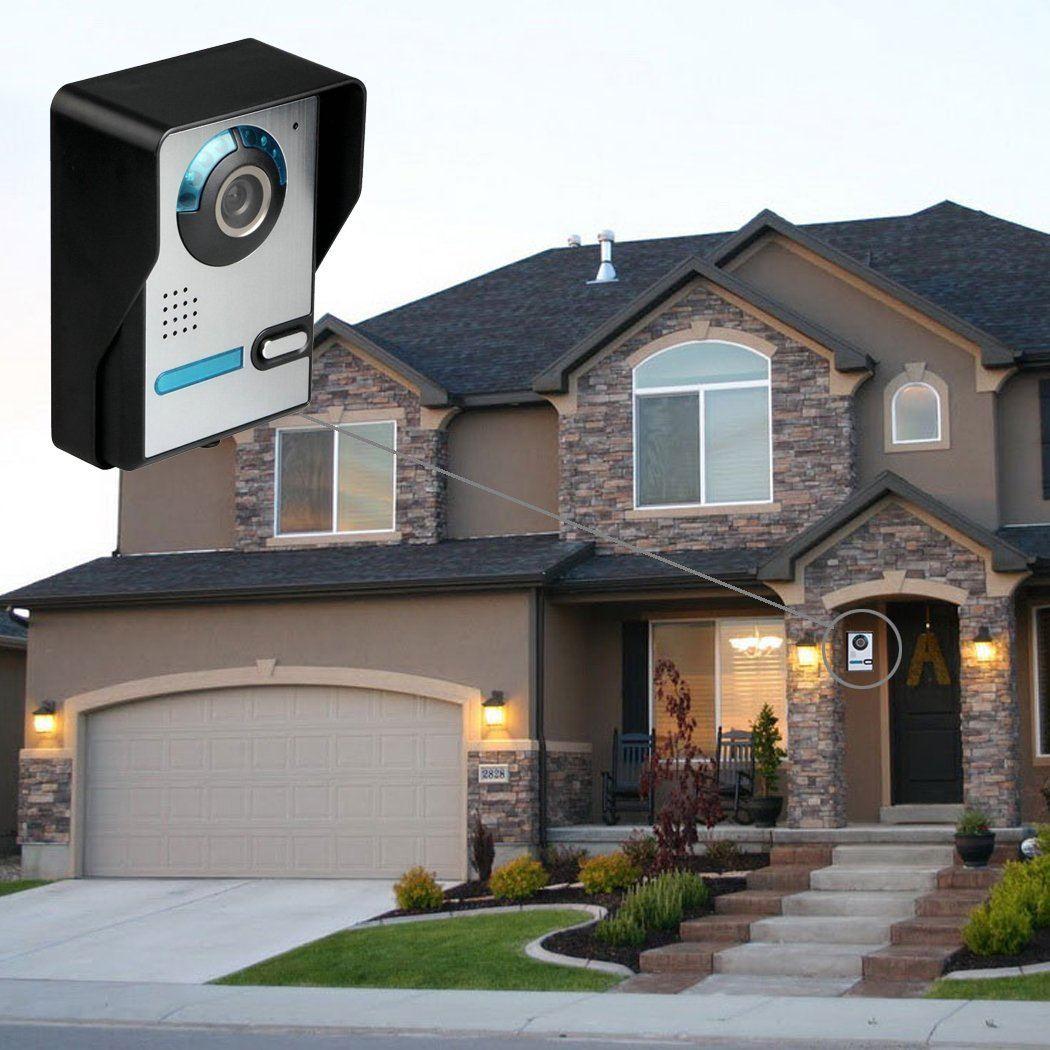 Cadrim Türsprechanlage Video 7 Zoll Türsprechanlage Kamera LCD Monitor Videoüberwachungsanlage Kamera Interkom System