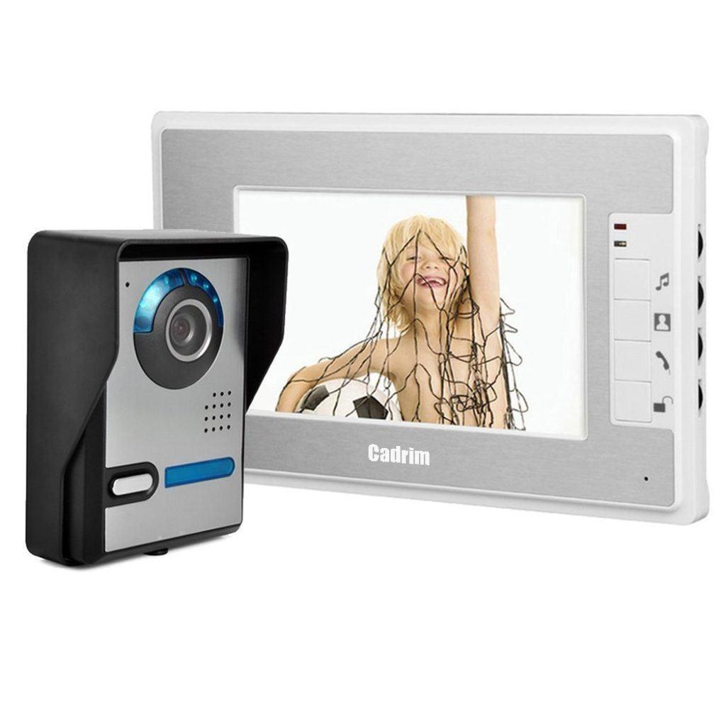 Cadrim T%C3%BCrsprechanlage Video 7 Zoll T%C3%BCrsprechanlage Kamera LCD Monitor Video%C3%BCberwachungsanlage Kamera Interkom System