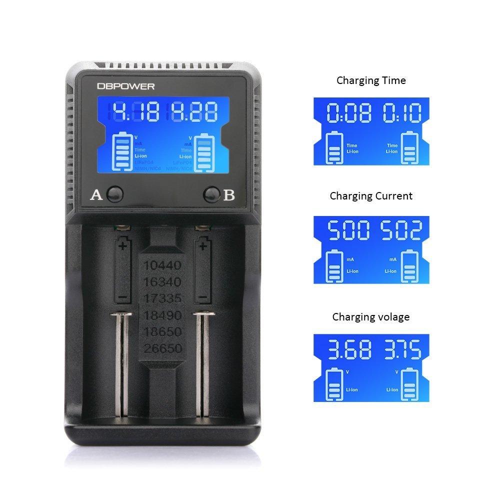 DBPOWER Universales Batterieladeger%C3%A4t Mit LCD Display Und Smart 2 Steckplatz F%C3%BCr Li Ion LiFeP04 Ni MH Ni CD A AA AAA C 26650 18650 18490 Auch F%C3%BCr Zigarettenanz%C3%BCnder
