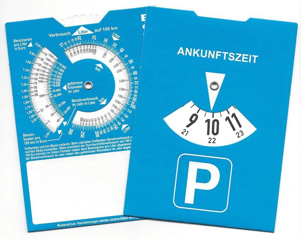 Europa Parkscheibe Parkuhr Mit Benzinrechner R%C3%BCckseite Neutral