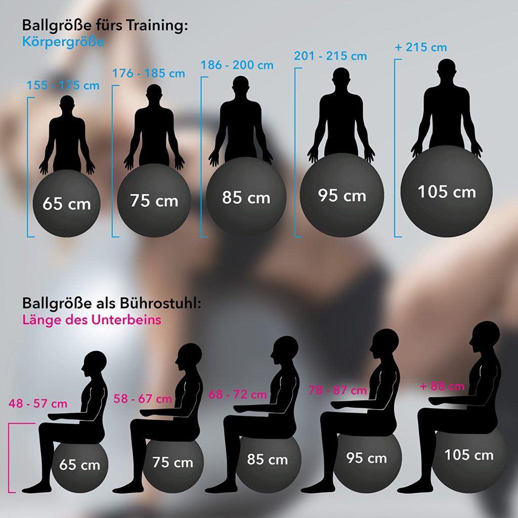 Gymnastikball Inkl. Pumpe 55 Cm 105 Cm Sitzball Fitnessball Inkl. %C3%9Cbungsposter Medizinball..