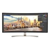 LG 38UC99-W 95,25 cm (37,5 Zoll) Monitor (HDMI, USB-C, USB 3.0, 5ms Reaktionszeit, 3840 x 1600, höhenverstellbar) schwarz/silber/weiß
