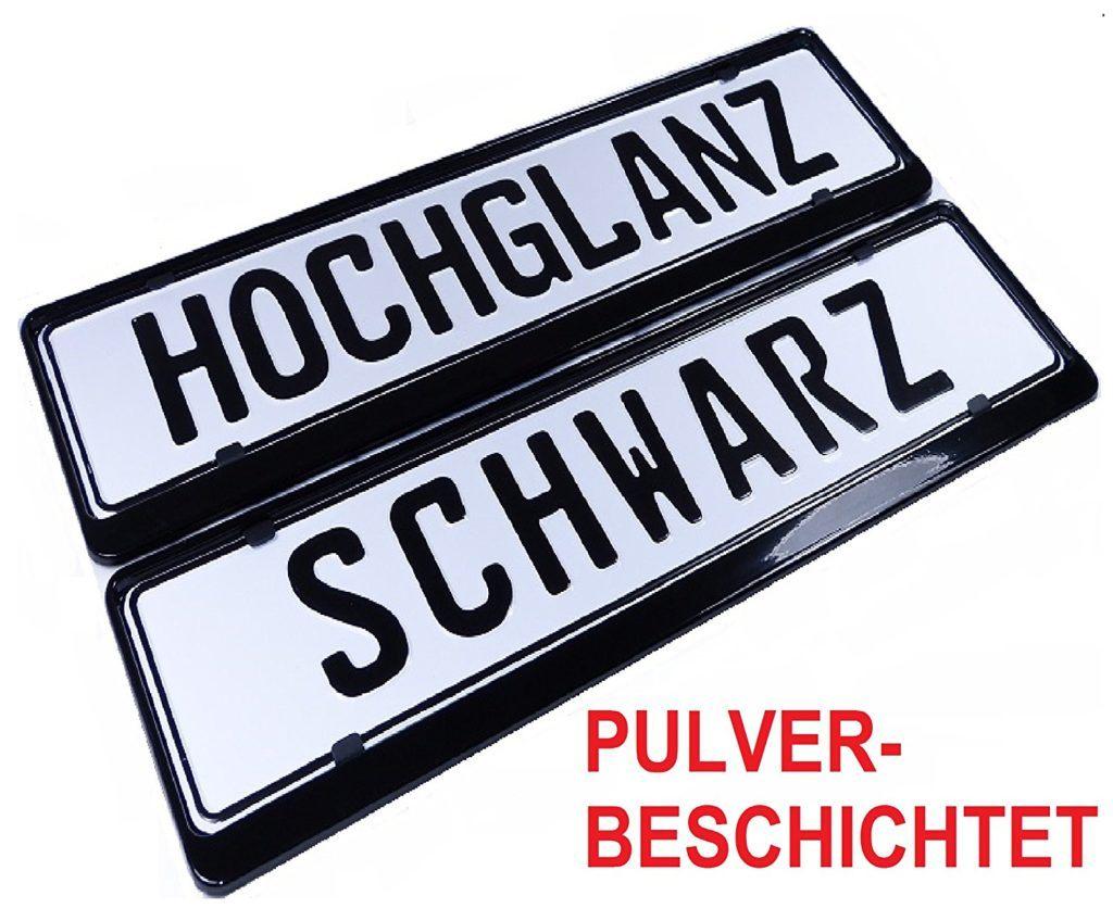 LP A174 2 X Kennzeichenhalter In Schwarz Hochglanz STAHL PULVERBESCHICHTET