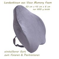 Lordosenstütze Rückenkissen Lendenkissen Lordosekissen Für Auto Oder Office aus Visco-Memory Foam Orthopädisch in Schwarz inkl. verstellbarem Gurt