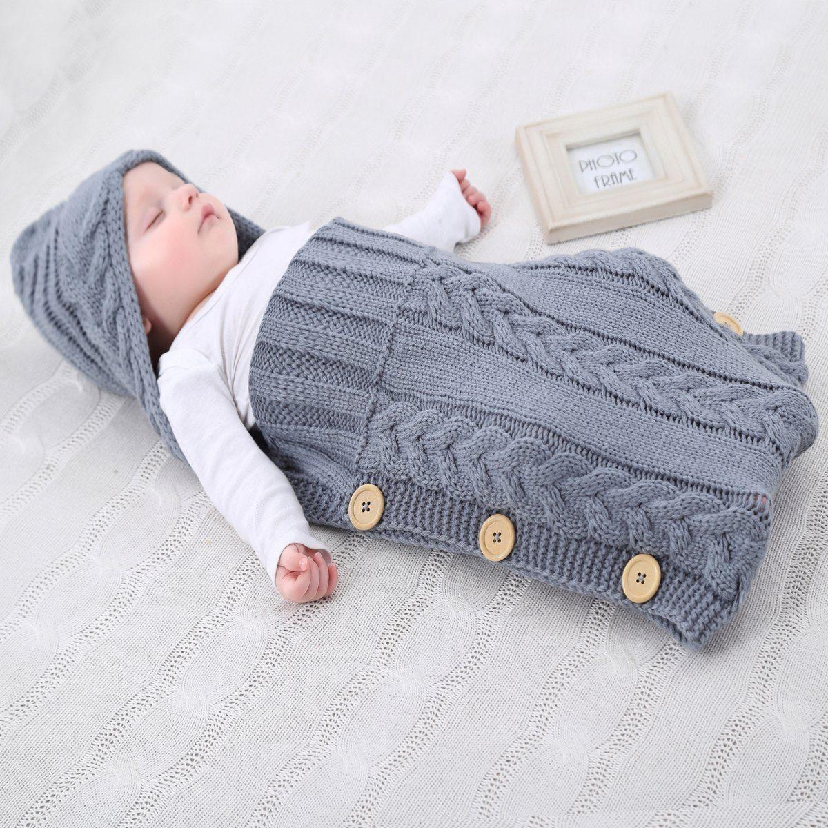 Neugeborenes Babydecke Wrap Swaddle Decke, SOONHUA Baby Kinder Kleinkind Wolle Knit Decke Swaddle Schlafsack Schlaf Sack Stroller Wrap für 0-12 Monate Baby (Grey)