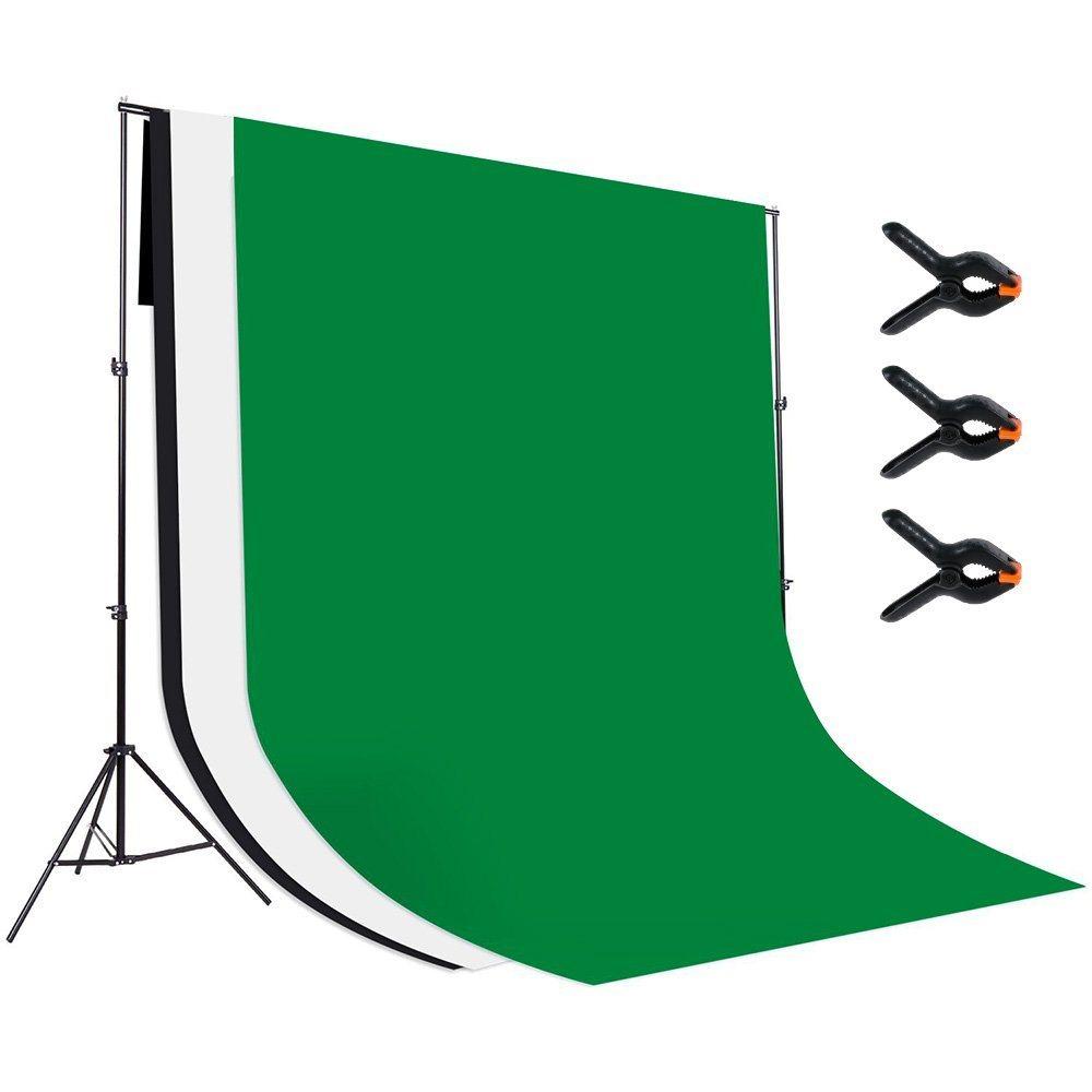 Rovtop 18 X 28M Gr%C3%BCn Hintergrundstoff Mit 3 Pcs Inch Muslin Clamp Fotostudio Hintergrund 100 Baumwolle
