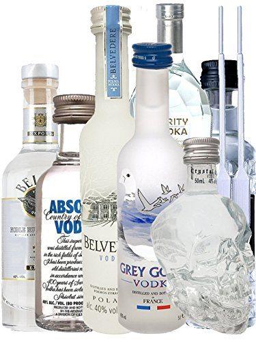 Vodka Probierset Jew. 1 X 5cl Beluga Noble 5cl Belvedere Polen 2cl Rushkinoff Vodka Caramel 5cl Crystal Head 5cl Purity Vodka 4cl Three Sixty 5cl Absolut Blue 2 Einwegpipetten