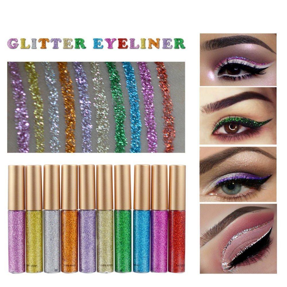 Weisy 10 Farben Eyeliner Glitter Wasserdicht Schimmer Pigment Silber Gold Metallic Liquid Glitters Eyeliner