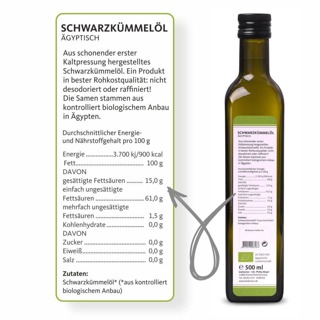 BioKontor BIO Schwarzk%C3%BCmmel%C3%B6l %C3%A4gyptisch Nativ Kaltgepresst 100 Rein 500 Ml