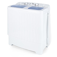 oneConcept Ecowash XL • Waschmaschine • Mini-Waschmaschine • mit Wäscheschleuder • 4,2 kg Waschkapazität • 300 Watt Waschleistung • 3 kg Schleuderkapazität • 110 Watt Schleuderleistung • 2 Programme • geräuscharm • wasser- und energiesparend • weiß