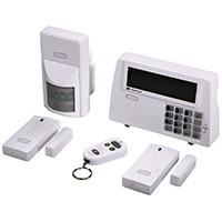 Xavax Alarmanlage Funk fürs Haus FeelSafe (laute 120dB Sirene, komplettes Alarmsystem inkl. Basisstation, Bewegungssensor, 2 Fenster-/Türsensoren und Fernbedienung mit Panik-Funktion, Sicherheit beliebig erweiterbar)