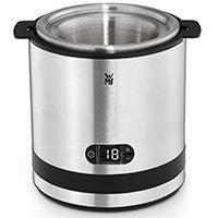 WMF KÜCHENminis Eismaschine 3-in-1, Speiseeismaschine für Frozen Yoghurt, Sorbet und Eiscreme, 300 ml, inklusive Eislöffel, edelstahl/cromargan matt/silber