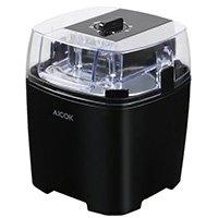 Aicok Eismaschine 1,5 Liter, Eiscreme Maschine, Sorbet Maschine, Frozen Joghurt Maschine, Speiseeismaschine mit Timer, inkl. Rezeptvorschläge, Schwarz