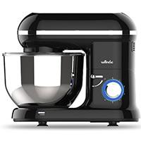 Küchenmaschine Knetmaschine Food Processor Wancle Stand Mixer 1260w, mit 5.5 Liter Edelstahlschüssel, Spritzschutz, Rührbesen, Knethaken und Ballon-Schneebesen (Schwarz)