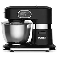 MLITER 1000W Küchenmaschine mit 5.5L Edelstahl-Rührschüssel, Spritzschutz, Rührhaken, Schneebesen und Knethaken, 5-stufig einstellbare Geschwindigkeit Schwarz