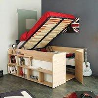 Funktionsbett Aaliyah 140*200 cm beige buche inkl Hydraulik + 2 Roll-Bettkästen + Kleiderschrank