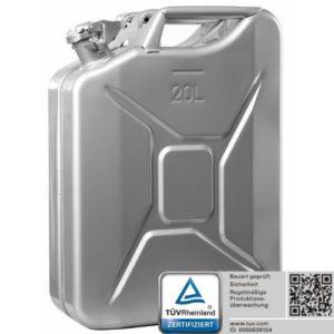 Oxid7® Benzinkanister Kraftstoffkanister Metall 20 Liter Silber mit UN-Zulassung