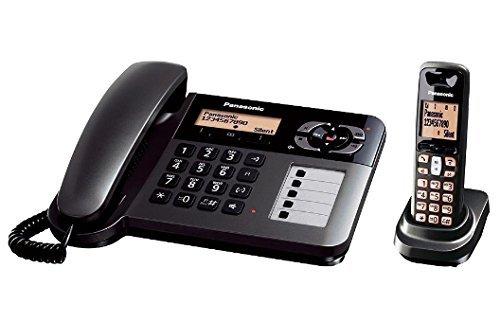 Panasonic KX TGF120GT DECT 2 In 1 Telefonset Mit Grossen Tasten Und Anrufbeantworter Schwarz 1