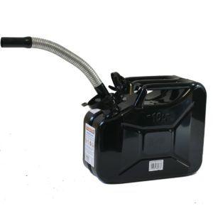Stahlblechkanister schwarz 10 Liter + Dieselauslaufrohr Benzinkanister Kanister Set