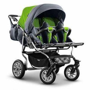 Zwillings- und Geschwisterkinderwagen Duett von Mikado in grün