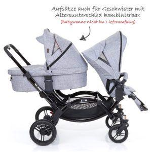 Zwillings- und Geschwisterkinderwagen von ABC-Design in graphite-black mit Sitzen voreinander
