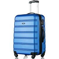 Hartschale Trolley Koffer Reisekoffer Zwillingsrollen Reisekoffer mit Zahlenschloss Handgepäck mit 4 Doppel-Rollen, XL-L-M (L, Blau)