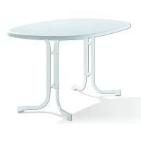 Sieger 152/W Boulevard-Klapptisch mit mecalit-Pro-Platte 140 x 90 cm, Stahlrohrgestell weiß, Tischplatte Marmordekor weiß
