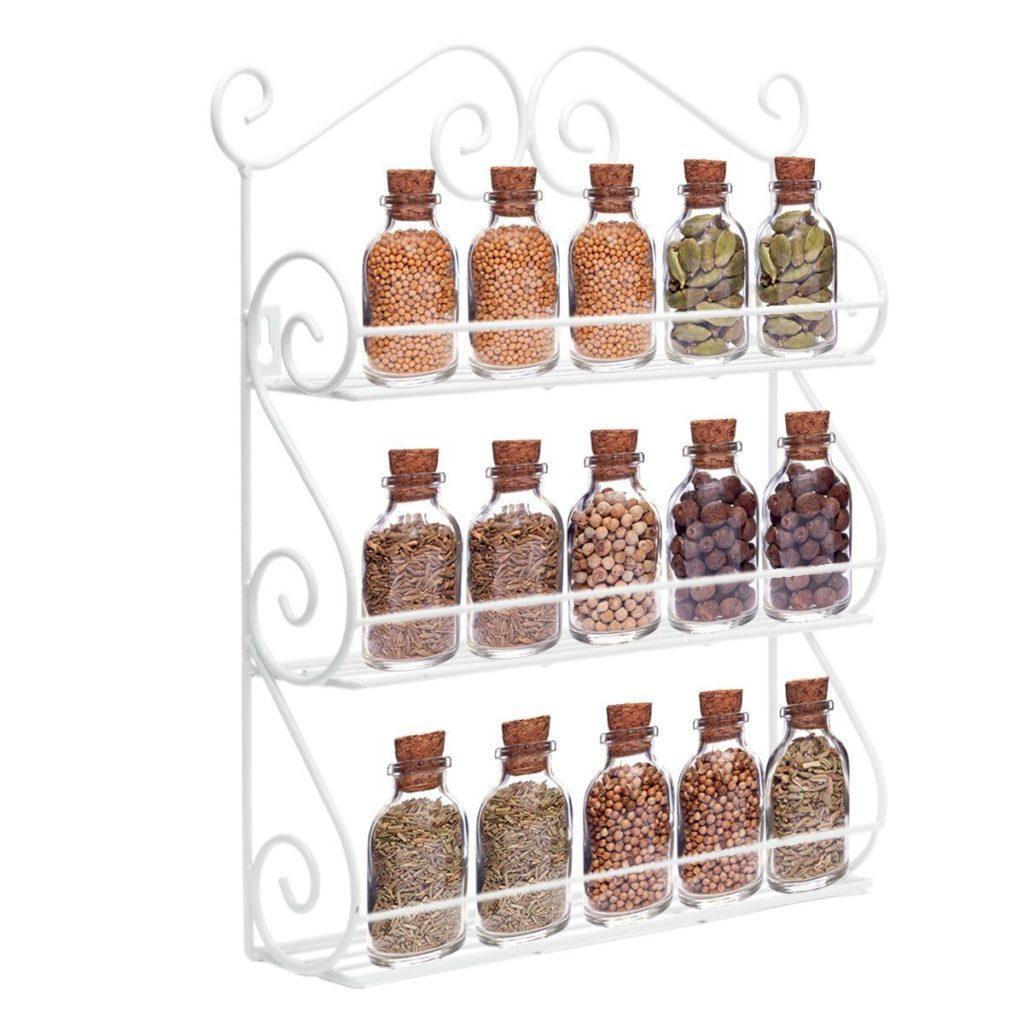 AISHIN Gew%C3%BCrzregal Scroll Spice Dekorative Wand Befestigter 3 Tier Wandbehang Kitchen Spice Rack