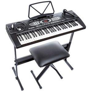 Alesis Melody 61, Tragbares Keyboard mit 61 Mini Tasten, eingebauten Lautsprechern und Mikrofon, Kopfhörer, Keyboardständer und Bank
