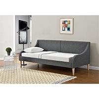 [en.casa]® Bequemes Tagesbett aus Stoff in dunkelgrau - mit Holzbeinen - 200cm x 90xm