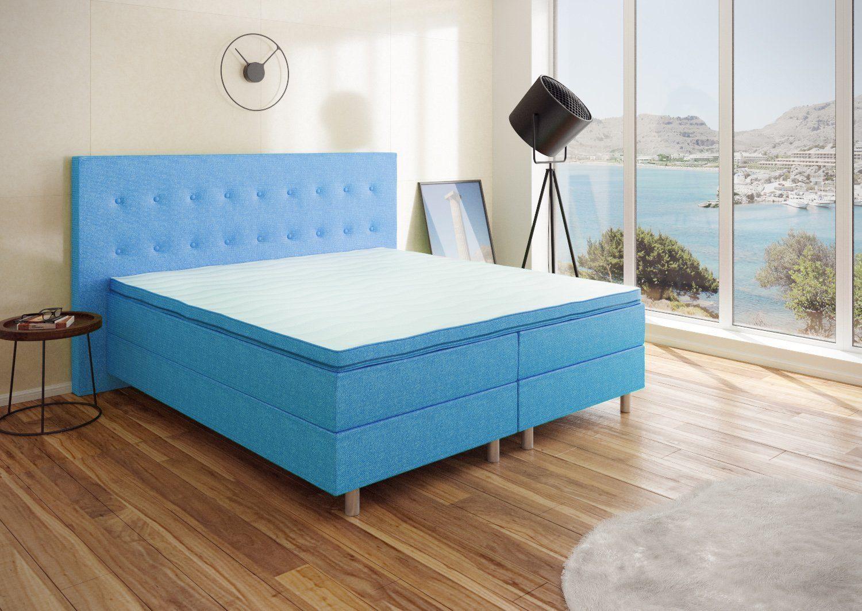 Best For You Boxspringbett Neo First Class Bett Polsterbett in verschiedenen Farben und Größen Blau