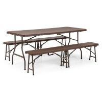 Blumfeldt Burgos Bierzeltgarnitur 3-teilig Tisch + 2 x Bank für drinnen und draußen Stahl klappbare Teile