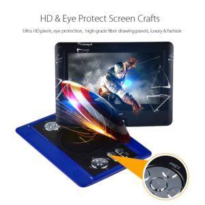 DVD-Player, 4 Stunden Akku, schwenkbaren Bildschirm, unterstützt SD-Karte und USB, mit Spiele-Joystick, Auto-Ladegerät--Blau HD