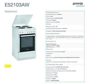 Die Daten des Gorenje E 52103 AW Elektroherd im Überblick.