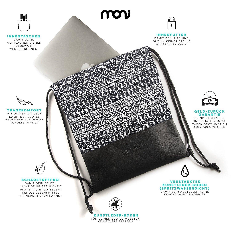 MONi Turnbeutel Rucksack Gymbag im Ethnic Design mit verstärktem Kunstleder-Boden Kunstleder