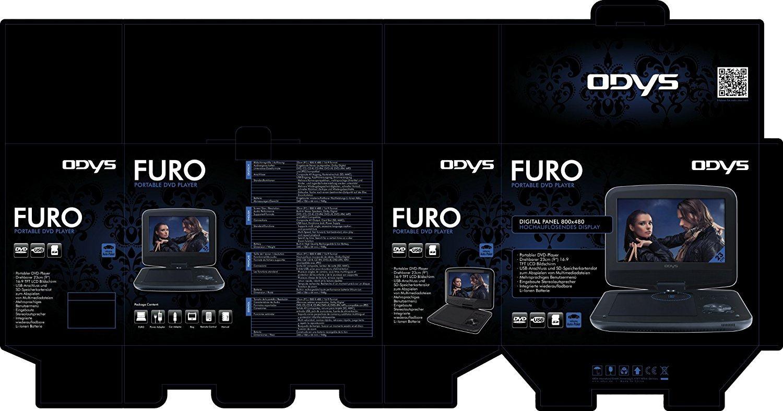 Odys Furo tragbarer DVD Player X820009 mit 22,9 cm