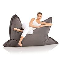 Original LAZY BAG Indoor & Outdoor Sitzsack XXL 400L Riesensitzsack Sitzkissen Sessel für Kinder & Erwachsene 180x140cm (Dunkel-Grau)
