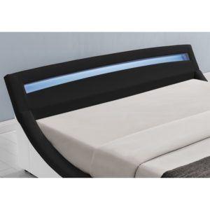 Polsterbett Malaga 140 x 200 cm mit LED Kopfteil - schwarz LED