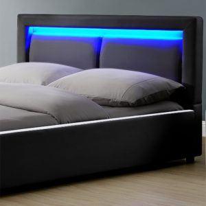 Polsterbett Murcia - 140 x 200 cm - schwarz LED