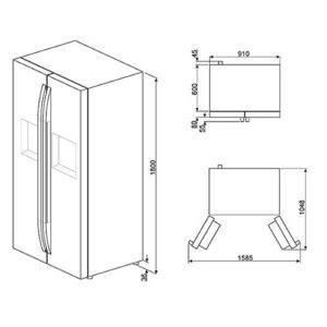 Smeg Standkühlschrank mit Gefrierfach Side by Side