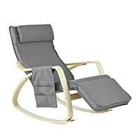 SoBuy® Schaukelstuhl mit Tasche (verstellbares Fußteil),Relaxstuhl,Relaxsessel,Belastbarkeit 150kg, FST18-DG